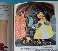 Walt Disneys Cinderella. This book was printed in 1950. Some of the images in it are very similar to the movie, and some are completely different.                                                                                                   ..