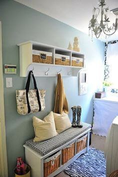 Love the shelving and bench for entry way