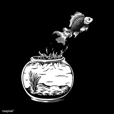 Pet fish jumping out of the fish tank risk and freedom concept Free Illustrations, Tank Drawing, Tank Tattoo, Illustration, Fish Illustration, Vector Free, Different Fish, Free Vector Illustration, Fish Tank Drawing