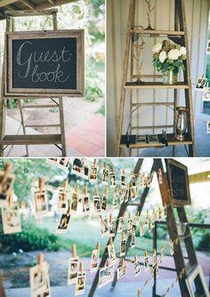 rustic country polaroid wedding guest book / http://www.deerpearlflowers.com/creative-polaroid-wedding-ideas/