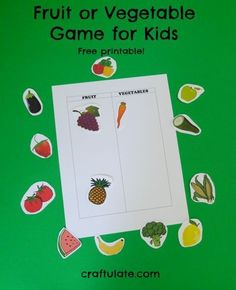Kids will love this fun fruit or vegetable sorting game! A great kids activity to teach toddlers and preschoolers about diet, nutrition and making healthy food choices.