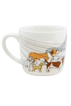 It's a familiar city sight, dogs of all kinds being taken for their walk. This urban pooch ceramic mug is the perfect gift for your dogwalker, dog sitter or dog lover! Capacity 12 oz.; microwave & dishwasher safe.   Dogwalker Mug by BUDD + FINN. Home & Gifts - Home Decor - Dining - Dinnerware Portland, Oregon