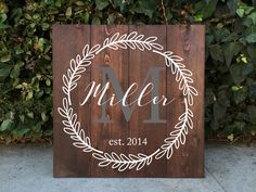 Family Monogram Wooden Sign - Rustic Home Decor Family Crest