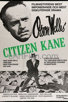#May1 1941 #CitizenKane #premieres in #NYC https://eartfilm.com/search?q=citizen+kane #PalaceTheatre #RKO #OrsonWelles #Broadway #Kane #Hearst #Rosebud #movies #film #cinema #filmmaking #filmmakers #posters #movieposters      Citizen Kane-R1983-Swedish-27x39-Orson Welles-Joseph Cotton