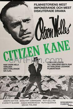 #May1 1941 #CitizenKane #premieres in #NYC https://eartfilm.com/search?q=citizen+kane #PalaceTheatre #RKO #OrsonWelles #Broadway #Kane #Hearst #Rosebud #movies #film #cinema #filmmaking #filmmakers #posters #movieposters      Citizen Kane-R1983-Swedish-27x39-Orson Welles-Joseph Cotton