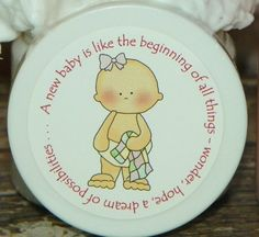 Baby Girl with Patchwork Blanket - Baby Shower Favors  Personalized Whipped Body Butter