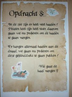 Piratentocht, Opdracht 8. -CE- Pirate Theme, Yoga For Kids, Too Cool For School, Animal Party, Pokemon, Games For Kids, Birthday Party Themes, Party Time, Birthdays
