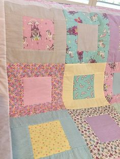 Excited to share the latest addition to my #etsy shop: Unicorn, Fantasty, Patchwork Quilt, Princess, Castle, Pastel, Girls Bedding, Blanket, Pink, Girls Bedroom