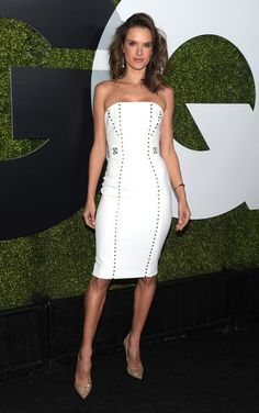 Alessandra Ambrosio wearing a Versace Collection Studded Strapless Sheath Dress http://api.shopstyle.com/action/apiVisitRetailer?id=494386764&pid=uid7729-3100527-84. #style #celebstyle