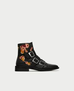 Flat Leather Ankle Boots with Embroidery and Buckles from Zara