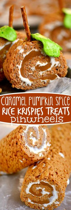 Caramel Pumpkin Spice Rice Krispies Treats Pinwheels - my new favorite fall treat! Amazing flavors, totally fun - what's not to love?