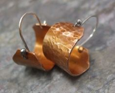 Heat Treated Copper Hoops with Sterling by ThePurpleLilyDesigns