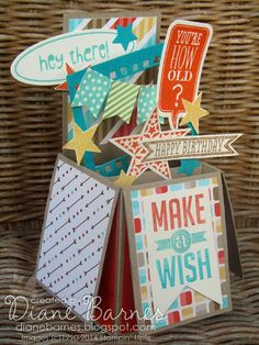 Stampin Up Card in a Box with Just Sayin, Perfect Pennants, Simply Stars & Banner Blast - by Di Barnes #stampinup #stampinupau #colourmehapp...