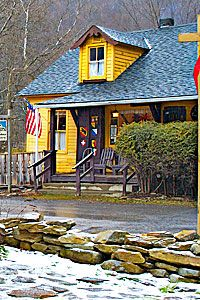 The Hutte Restaurant in the tiny Swiss village of Helvetia, WV....sounds as if Finns named the town!-Randolph Co.