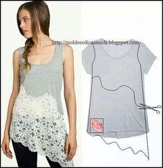 tshirt lace upcycle