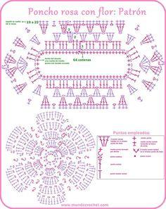 Crochet Diagram, Crochet Chart, Crochet Motif, Crochet Stitches, Crochet For Kids, Crochet Baby, Free Crochet, Knit Crochet, Crochet Patterns Free Women
