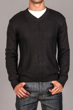 MG BLACK LABEL CABLE KNIT SWEATER WITH GUN FLAP DETAIL & ELBOW PATCHES ONYX