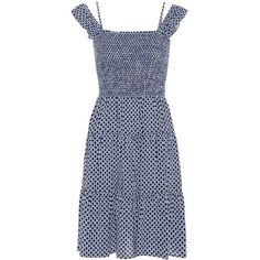Tory Burch Cabarita Smocked Dress (21,020 INR) ❤ liked on Polyvore featuring dresses, tory burch, smock dress, smocked dresses and tory burch dresses