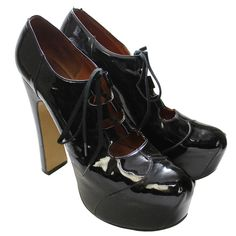1993 Vivienne Westwood Black Patent Platform High Heels | From a collection of rare vintage shoes at https://www.1stdibs.com/fashion/accessories/shoes/