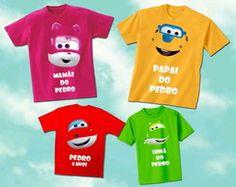 Kit Família Super Wings com 4 camisetas