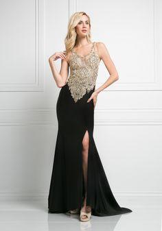 Beaded V-Neck Evening Dress with Slit by Cinderella Divine J750. Prom  Dresses 2016Slit ... 346e24d8d