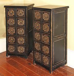 Asian Furniture, from Beijing China, Ten Drawer Black Apothecary Chest