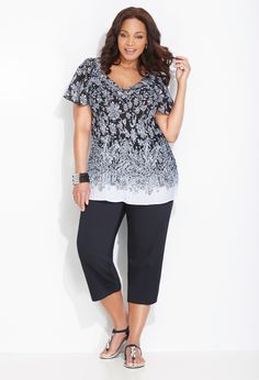 Cute and comfy look as long as the blouse is fitted around the waist.