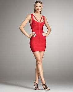 Double-Strap Bandage Dress by Herve Leger at Neiman Marcus.