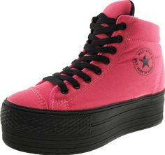 Maxstar High-Top Taller Insole Dark Color Platform Zipper Canvas Sneakers Shoes Hot Pink 7.5 B(M) US Womens Canvas fabric upper. Taller insole and inside zipper. 4cm platform + 3.5cm taller insole. 8.3cm width. 16cm total height.  #Maxstar #Shoes