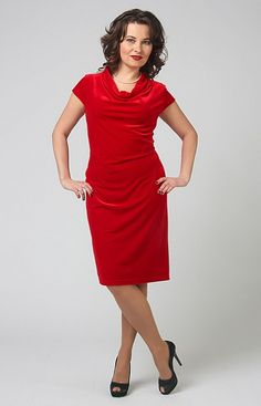 Купить ярко-красное платье миди из бархата в интернет-магазине (цвет: красный) | СКМ-3548/5