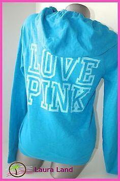 Beautiful Color!! XS~Victoria Secret LOVE PINK HOODIE Zip Up Jacket Sweat Shirt Top AQUA Blue ~NWT