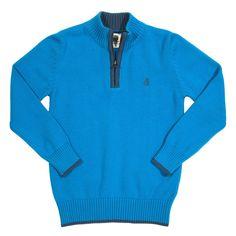 Organic Cotton Jumper for boys by Kite :-) Pull bleu en coton bio certifie. Ce beau tricot très classique possède des manches et une fermeture éclair au col. Très facile à associer avec jean ou bermuda ou pantalon côtelé.