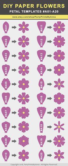 40 SVG Paper Flower Templates Petal Templates A01-A40diy