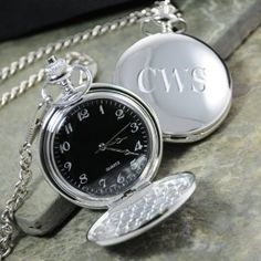 Cathy's Concepts Black Face Silver-Plated Pocket Watch by Cathy's Concepts. $34.00. Handsome 12-inch chain. Silver-plated setting. Black watch face. Give him a gift of distinction with our Black Face Silver-Plated Pocket Watch. Created with old world refinement, this unique gift offers the sophisticated elegance that a wristwatch simply cannot match. Crafted of a clean silver-plated setting, this pocket watch features a handsome 12-Inch chain and black face watch. Size: Mea...