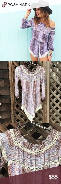 """LF Rumor Purple Off the Shoulder Romper Worn TWICE. This adorable off the shoulder romper is so perfect for spring/summer with booties or sandals. I'm 5'7"""", a size 26 jeans, and 34B and this fits perfectly! LF Dresses Mini"""