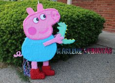 George Pig o Peppa pig pinatas... Dinosaour por Marlenespinatas