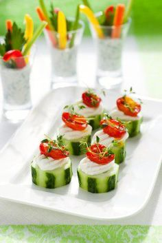 Really cool little appetizers that really don't need anything than your imagine - sliced cucumber, cottage or ricotta cheese, sundried tomato and whatever herb takes your fancy for a decoration.
