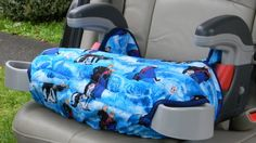"""Graco Turbo Booster seat covers are quilted with 1"""" batting to make the cover padded and durable and lined.    Made of polyester cotton in the blue Frozen fabric that children love.    Each are washable and in colors and prints that will encourage your child to stay seated.    The booster seat cover has elastic loops to hook on to the bottom of booster seat.    Each are made in a smoke free home    Other colors and prints are available on request, please allow 5 days for construction and…"""