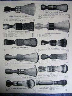 #vintage #barber #vintagebarber  1900's 12 Kochs Vintage Barber Shaving Lather Brushes Sign Ad/Prices