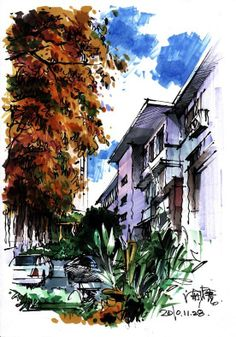 pigment and lines of the building and tree are bold and lavish.Rich pigment and lines of the building and tree are bold and lavish. Illustration Sketches, Watercolor Illustration, Drawing Sketches, Graphic Illustration, Architecture Sketchbook, Art And Architecture, Monuments, Perspective Sketch, Interior Design Images