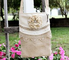 small tote - burlap and lace ~This is actually a kinda cute cross body bag.