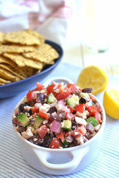 Mediterranean Salsa - fresh, flavorful, and perfect for dipping with tortilla chips!