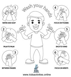 Free ! wash your hands coloring pages ⋆ Kids Activities Cool Coloring Pages, Coloring Sheets, Coloring Books, Educational Games For Kids, Activities For Kids, Crafts For Kids, Free Printable Worksheets, Free Printable Coloring Pages, Doodle Coloring