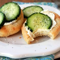 Cucumber, cream cheese on a crescent breadstick...simple and delicious from   quick-dish.tables... >> Simple and fresh! A tomato would be yummy too, perhaps with a pesto cream cheese!