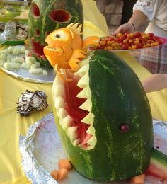 Hawaiian Luau food ideas  Shark Watermelon dessert