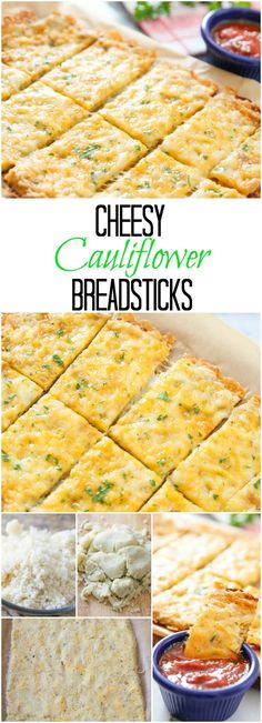 Cheesy Cauliflower Breadsticks. Low carb and delicious! You can't tell it's made of cauliflower!