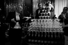 Backstage at Cannes day 1: Champagne pyramid at The Great Gatsby party