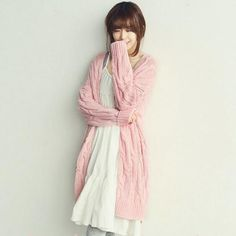 Cheapest Cardigans Korean Style Solid Color Long Sleeves Cardigans Pink