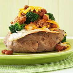 A low-cal baked potato with chili and cheese