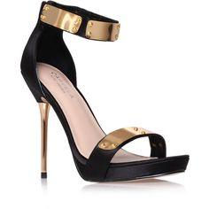 Glide Carvela Kurt Geiger Black (84 AUD) ❤ liked on Polyvore featuring shoes, sandals, heels, black, high heels, zapatos, black stilettos, black shoes, black high heel sandals and metallic sandals